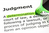 'determination' Highlighted, Under 'judgment'