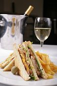 pic of catering service  - sandwiches served with potatoes and wine - JPG