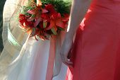 stock photo of femenine  - Bride and bridesmaid - JPG