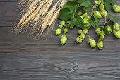 Beer Brewing Ingredients Hop Cones And Wheat Ears On Dark Wooden Table. Beer Brewery Concept. Beer B poster
