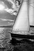 picture of sail-boats  - sailing ships on a cloudy day near ground - JPG