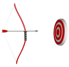 picture of bow arrow  - A bow and arrow is held aiming at a target bulls - JPG