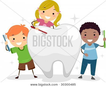 Illustration of Kids Brushing a Tooth