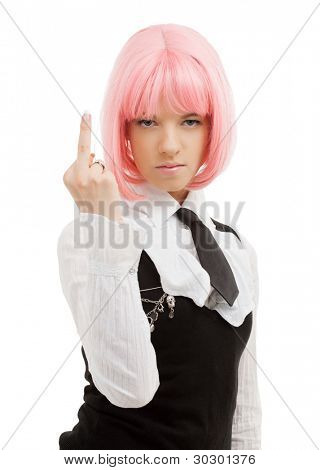 picture of schoolgirl with pink hair showing middle finger