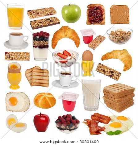 Collection of various types of breakfast isolated on white background