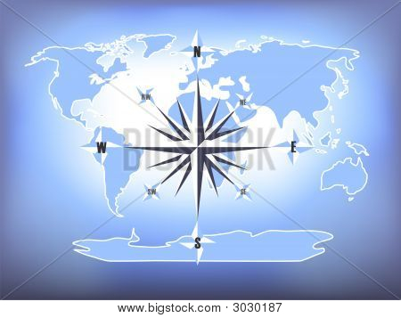 Blue Compass Rose World Map