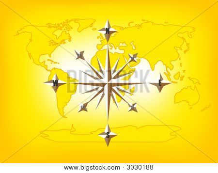 Gold Compass Rose World Map