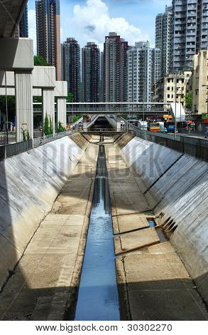 Flash Flood protection in Hong Kong - Editorial Use