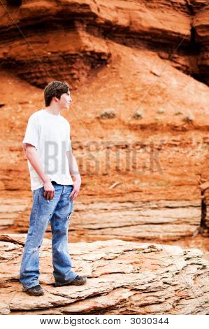 Teen Male In Mountains