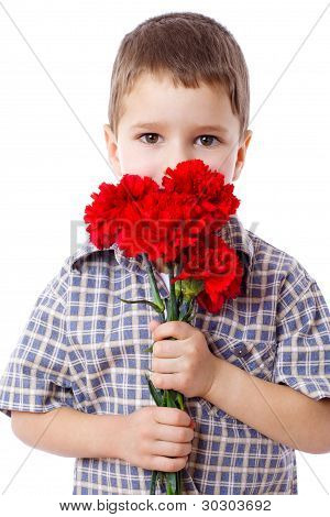 Boy with bouquet of carnations