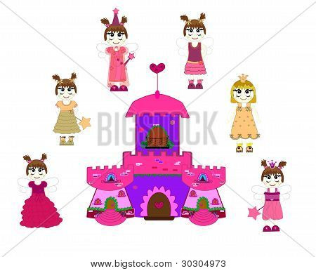 Little cute princess and castle vector