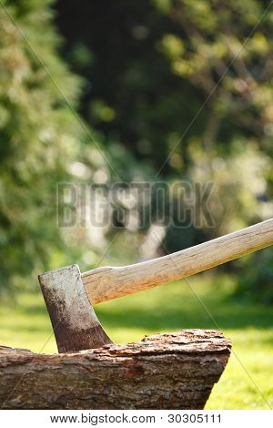 Woodcutters Axe With Copyspace
