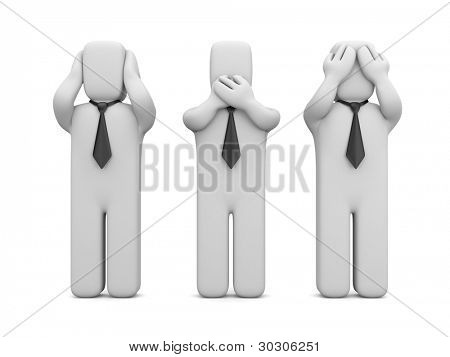 See no evil, hear no evil, speak no evil. Image contain clipping path