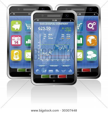 Smartphone com aplicação do mercado de ações