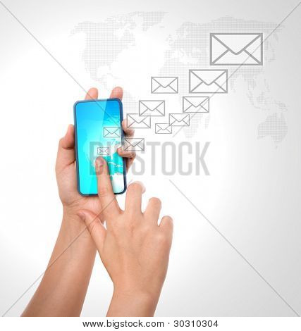 Hand holding a phone show  mail