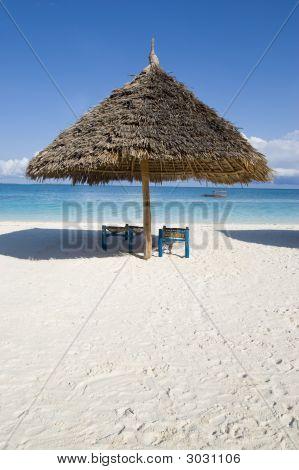 Sunshade On Beach In Zanzibar