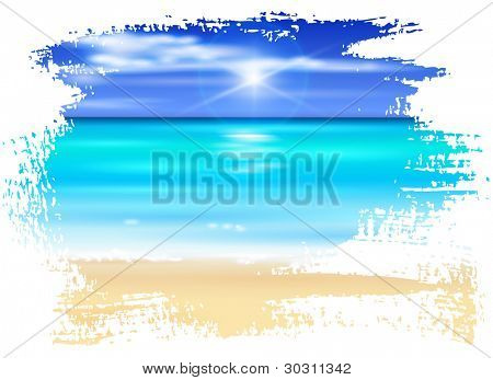 azure ocean, blue sky with white fluffy clouds, white sand deserted tropical beach - vector illustration