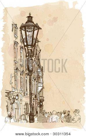 Stadt Prag, Tschechische Republik eine Vektor-Skizze & Aquarell Hintergrund anzeigen