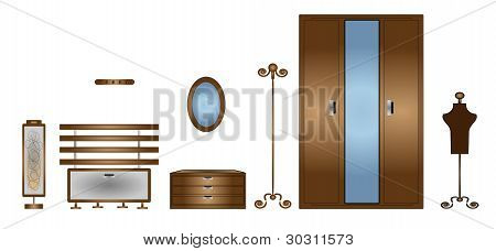 illustration of isolated set of furniture on white background vector