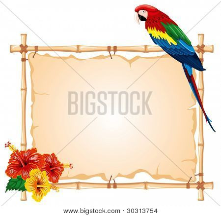 Bright parrots sitting on a bamboo frame, decorated with tropical flowers