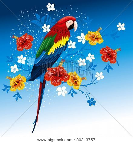 Bright parrots sitting on a branch with tropical flowers
