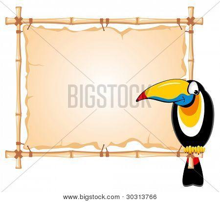 fröhlich Tukan sitzend auf einem Bambus-Rahmen