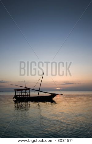 Sailing Boat At Sunset In Zanzibar Africa