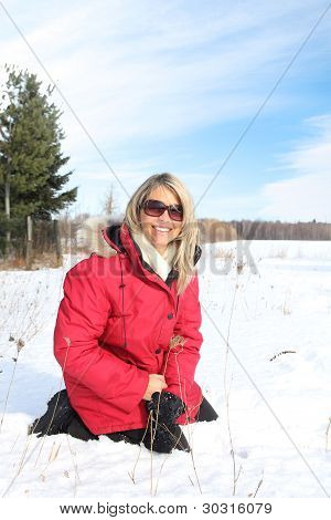 Woman Sit In Snow