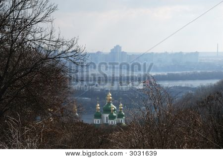 Early Spring View Down The River Dnieper, Kiev City Landscape