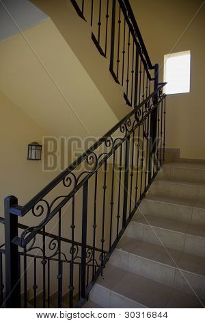 Stairway and Wrought Iron Bannister