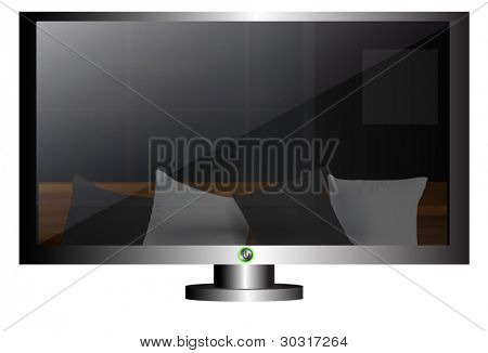 LCD tv screen with reflection living room in it.