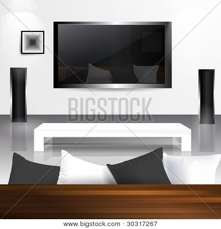 Interior with LCD tv screen with reflection living room in it.