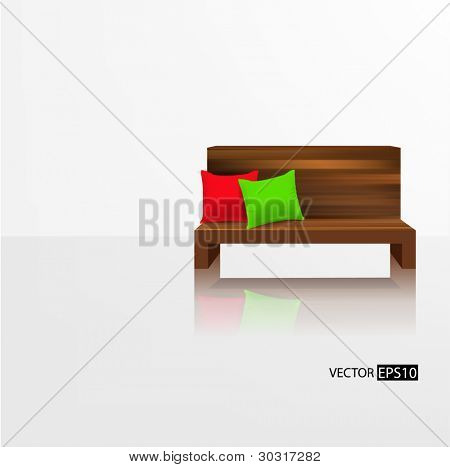 Wooden couch with pillows against empty white wall and reflection