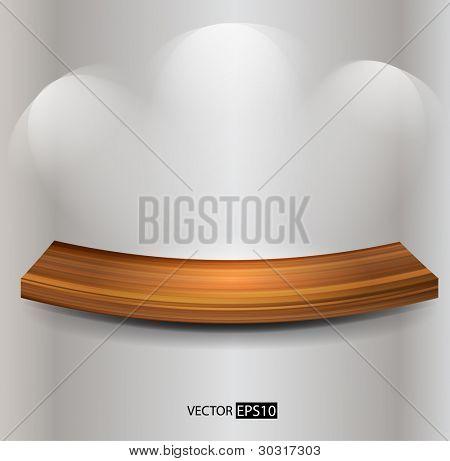 Vector wooden empty shelf