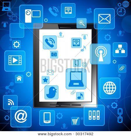 tableta; social media, comunicación en las redes informáticas mundiales.Archivo se guardará en versio AI10 EPS