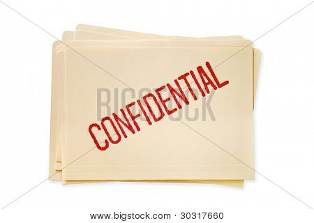 Stack of manilla file folders, stamped confidential.