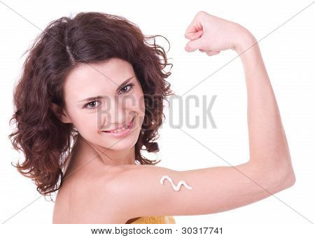 Beauty young woman with make-up on white background