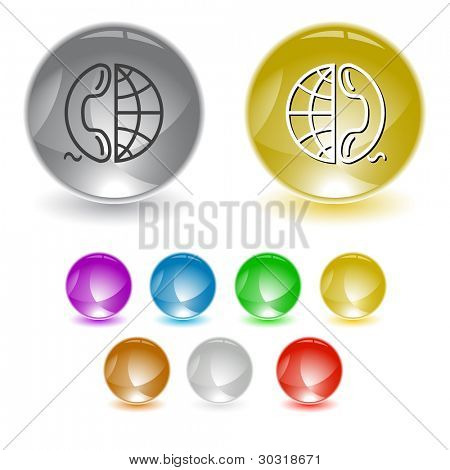 Globe and phone. Raster interface element. Vector version is in portfolio.