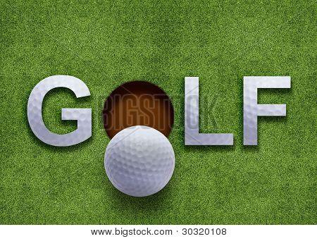 Golf Word On Green Grass