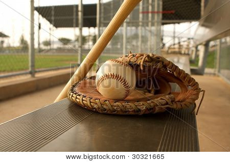Baseball & Baseball Glove on the Bench