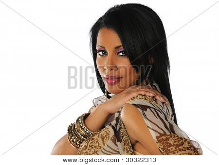 Portrait of beautiful young African American woman with hand on shoulder isolated over white background