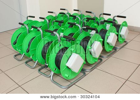 Group Of Cable Reels For New Fiber Optic Installation