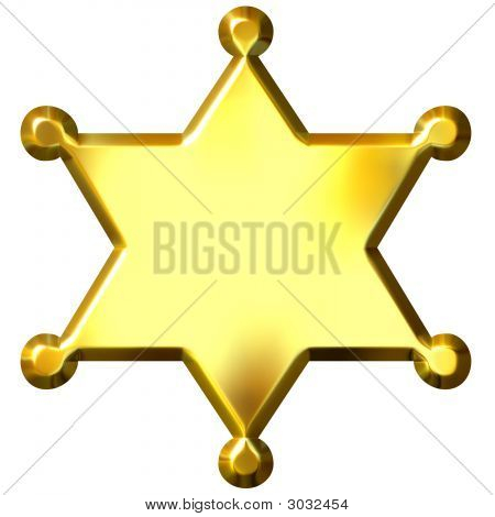 3D Golden Sheriff'S Badge