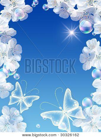 Marco de oro y flores blancas