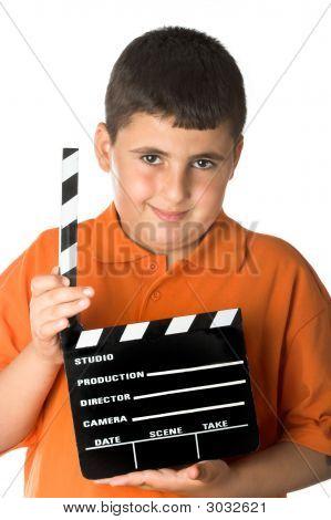 Junge mit Film-Schiefer