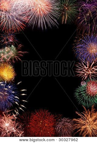 Colorful Fireworks Frame