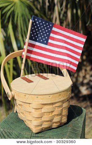 American Flag and Basket