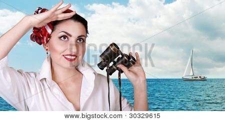 Young Pretty Women Portrait At The Sea View