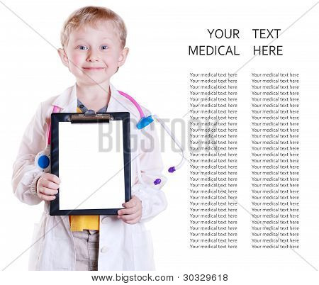 Little Doctor Portrait With Clip Board