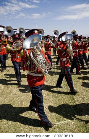 Tuba Players From The Ceremonial Marching Band Marching Past At The 20Th World Aids Day Event In Fit